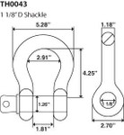 """1 1/8"""" D Ring Bow Shackle Screw Pin Clevis 9.5 Ton"""
