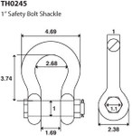 """1"""" 8.5 TON D Ring Shackle Screw Pin Clevis Safety Bolt G2130 Style"""