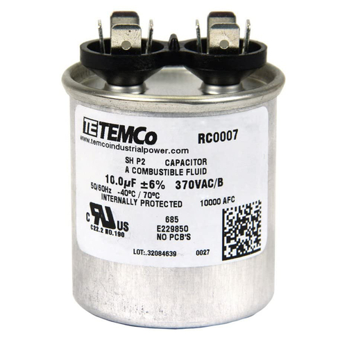 AC Electric Motor Run Capacitor RC0007 - 10 uf (mfd) 370 VAC Round HVAC