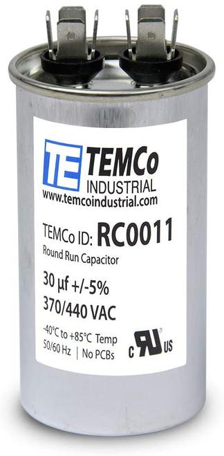Lot-2 TEMCo 30 uf//MFD 370 VAC volts Round Run Capacitor 50//60 Hz
