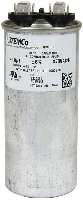 AC Electric Motor Run Capacitor RC0013 - 40 uf (mfd) 370 VAC Round HVAC