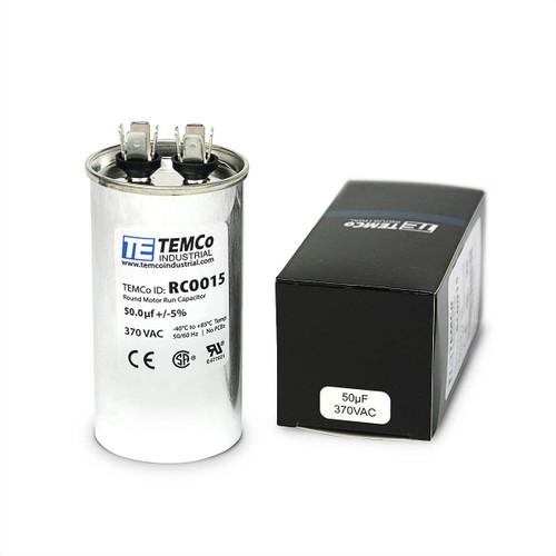 AC Electric Motor Run Capacitor RC0015 - 50 uf (mfd) 370 VAC Round HVAC