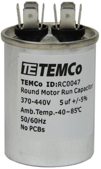 AC Electric Motor Run Capacitor RC0047 - 5 uf (mfd) 370/440 VAC Round HVAC
