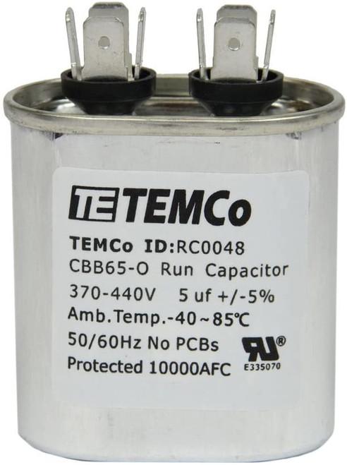 AC Electric Motor Run Capacitor RC0048 - 5 uf (mfd) 370/440 VAC Oval HVAC