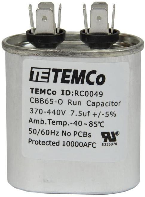 AC Electric Motor Run Capacitor RC0049 - 7.5 uf (mfd) 370/440 VAC Oval HVAC
