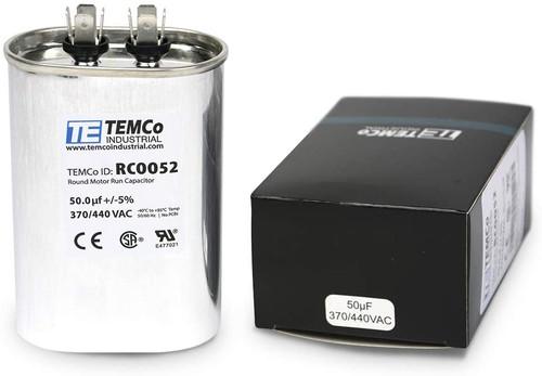 AC Electric Motor Run Capacitor RC0052 - 50 uf (mfd) 370/440 VAC Oval HVAC