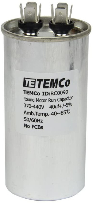 AC Electric Motor Run Capacitor RC0090 - 40 uf (mfd) 440 VAC Round HVAC