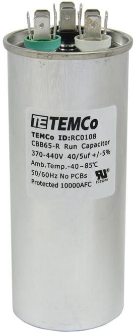 AC Electric Motor Dual Run Capacitor RC0108 - 40/5 uf (mfd) 440 VAC Round HVAC