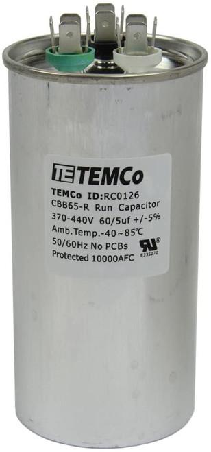 AC Electric Motor Dual Run Capacitor RC0126 - 60/5 uf (mfd) 440 VAC Round HVAC