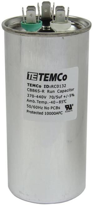 AC Electric Motor Dual Run Capacitor RC0132 - 70/5 uf (mfd) 440 VAC Round HVAC