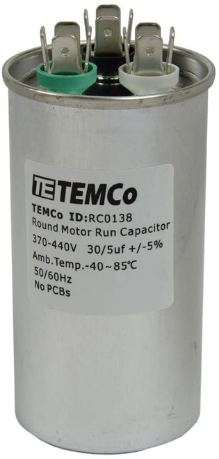 AC Electric Motor Dual Run Capacitor RC0138 - 30/5 uf (mfd) 440 VAC Round HVAC
