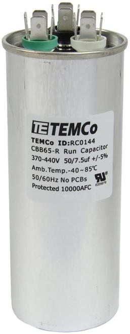 AC Electric Motor Dual Run Capacitor RC0144 - 50/7.5 uf (mfd) 440 VAC Round HVAC