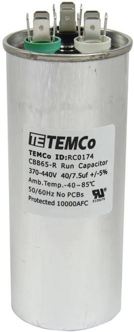 AC Electric Motor Dual Run Capacitor RC0174 - 40/7.5 Uf (mfd) 440 VAC Round HVAC