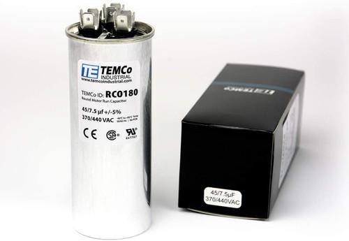 AC Electric Motor Dual Run Capacitor RC0180 - 45/7.5 Uf (mfd) 440 VAC Round HVAC
