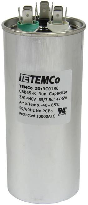 AC Electric Motor Dual Run Capacitor RC0186 - 55/7.5 Uf (mfd) 440 VAC Round HVAC