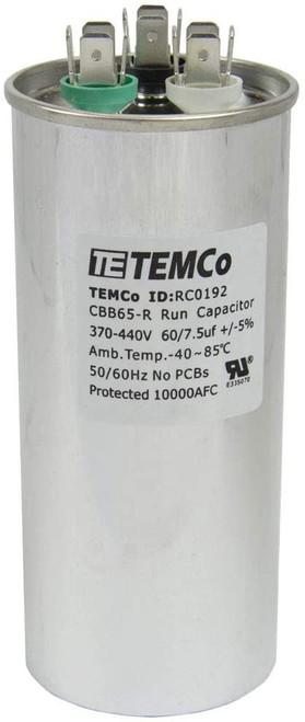 AC Electric Motor Dual Run Capacitor RC0192 - 60/7.5 Uf (mfd) 440 VAC Round HVAC