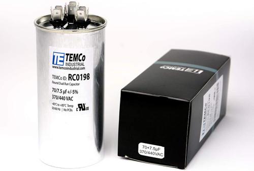 AC Electric Motor Dual Run Capacitor RC0198 - 70/7.5 Uf (mfd) 440 VAC Round HVAC