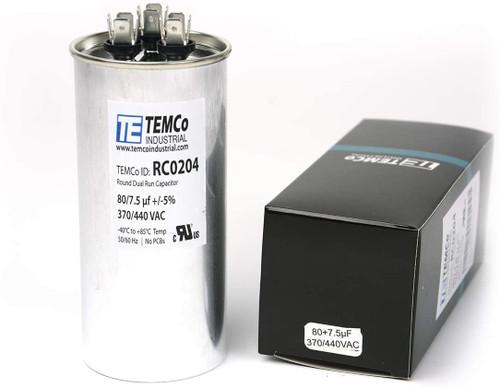 AC Electric Motor Dual Run Capacitor RC0204 - 80/7.5 Uf (mfd) 440 VAC Round HVAC