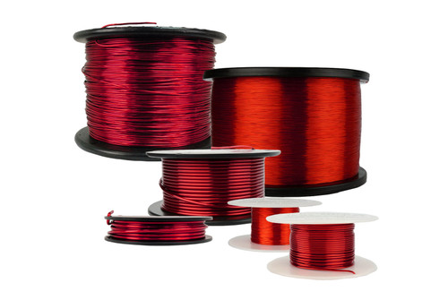 12 AWG Copper Magnet Wire MW0369 - 5 lb Magnetic Coil Red Soderon 155