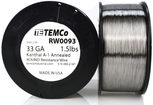 33 AWG 1.5 lb Kanthal A-1 round resistance wire.