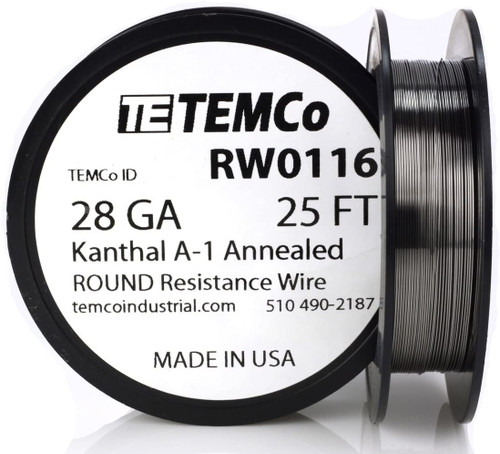 28 AWG 25 ft Kanthal A-1 round resistance wire.