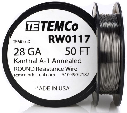 28 AWG 50 ft Kanthal A-1 round resistance wire.