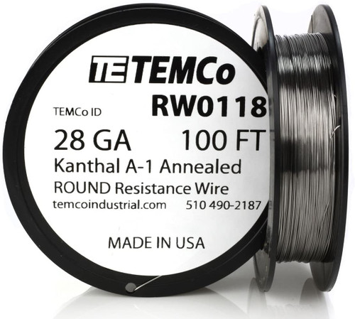 28 AWG 100 ft Kanthal A-1 round resistance wire.
