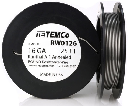 16 AWG 25 ft Kanthal A-1 round resistance wire.