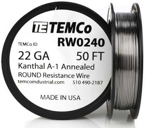 22 AWG 50 ft Kanthal A-1 round resistance wire.