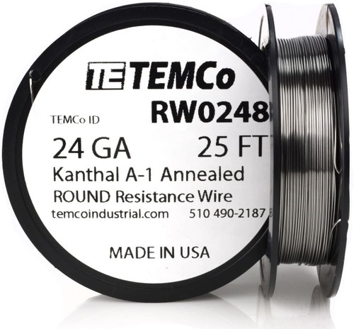 24 AWG 25 ft Kanthal A-1 round resistance wire.