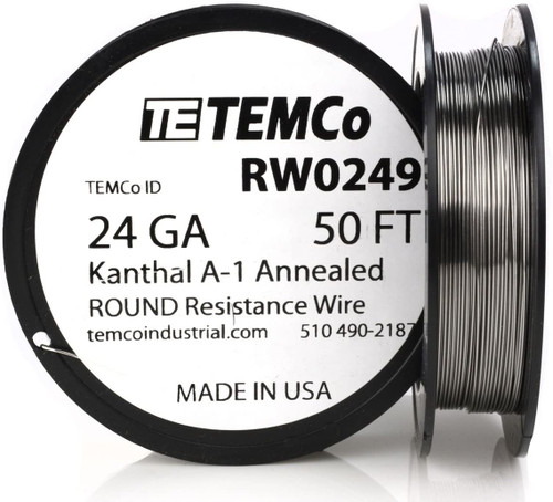 24 AWG 50 ft Kanthal A-1 round resistance wire.