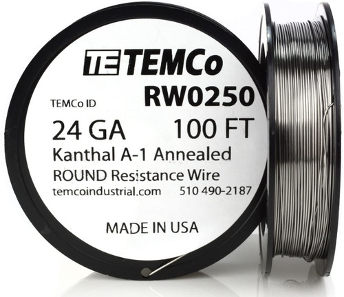 24 AWG 100 ft Kanthal A-1 round resistance wire.
