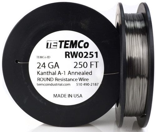24 AWG 250 ft Kanthal A-1 round resistance wire.