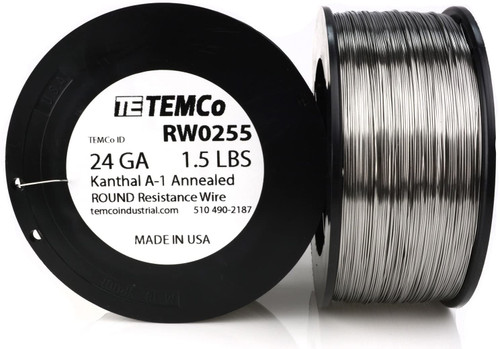24 AWG 1.5 lb Kanthal A-1 round resistance wire.