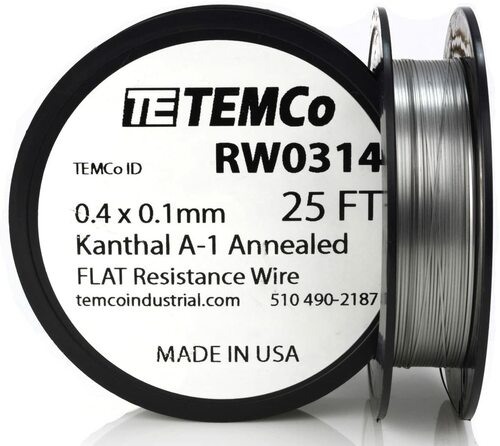 0.4 x 0.1 mm 25 ft Kanthal A-1 flat ribbon resistance wire.