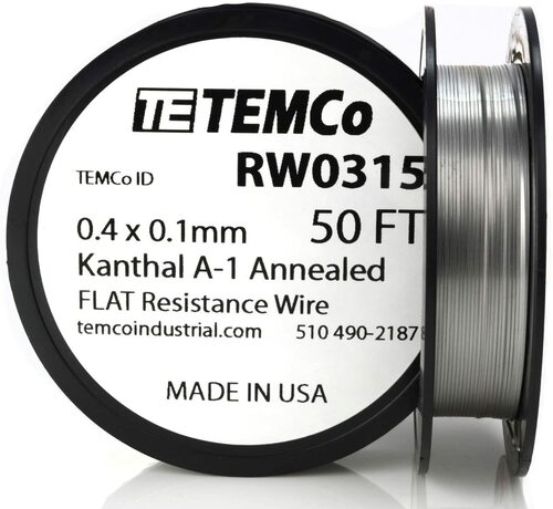 0.4 x 0.1 mm 50 ft Kanthal A-1 flat ribbon resistance wire.
