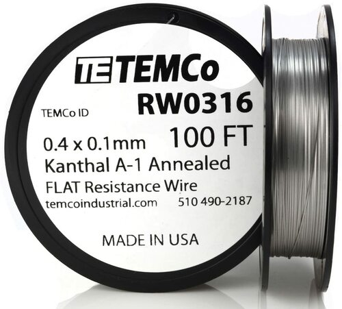 0.4 x 0.1 mm 100 ft Kanthal A-1 flat ribbon resistance wire.
