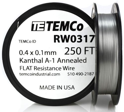 0.4 x 0.1 mm 250 ft Kanthal A-1 flat ribbon resistance wire.
