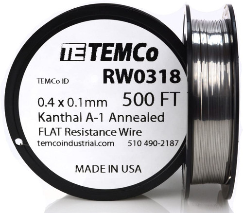 0.4 x 0.1 mm 500 ft Kanthal A-1 flat ribbon resistance wire.