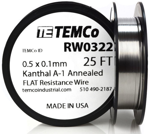 0.5 x 0.1 mm 25 ft Kanthal A-1 flat ribbon resistance wire.