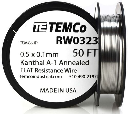 0.5 x 0.1 mm 50 ft Kanthal A-1 flat ribbon resistance wire.