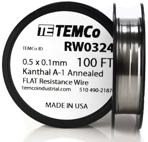 0.5 x 0.1 mm 100 ft Kanthal A-1 flat ribbon resistance wire.
