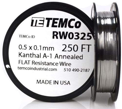 0.5 x 0.1 mm 250 ft Kanthal A-1 flat ribbon resistance wire.