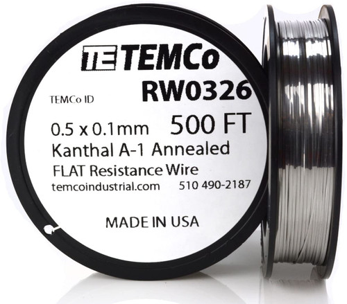 0.5 x 0.1 mm 500 ft Kanthal A-1 flat ribbon resistance wire.