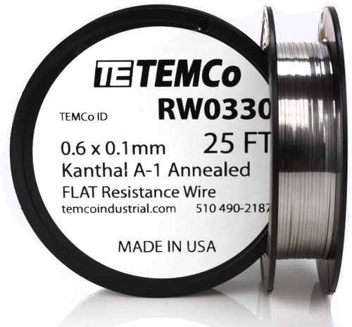 0.6 x 0.1 mm 25 ft Kanthal A-1 flat ribbon resistance wire.