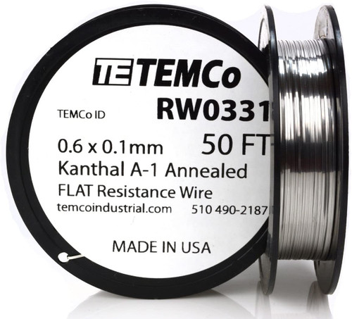 0.6 x 0.1 mm 50 ft Kanthal A-1 flat ribbon resistance wire.