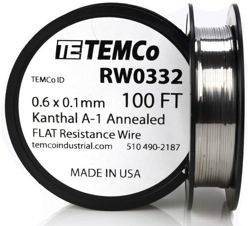 0.6 x 0.1 mm 100 ft Kanthal A-1 flat ribbon resistance wire.