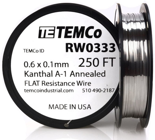 0.6 x 0.1 mm 250 ft Kanthal A-1 flat ribbon resistance wire.