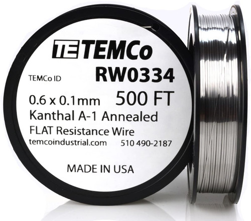 0.6 x 0.1 mm 500 ft Kanthal A-1 flat ribbon resistance wire.