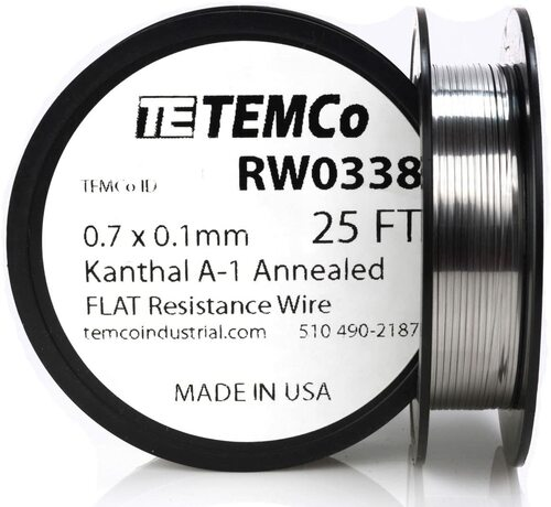 0.7 x 0.1 mm 25 ft Kanthal A-1 flat ribbon resistance wire.